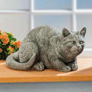 "Dekofigur Katze ""Mia"", Gartendeko Tierfigur aus Steinguss"