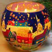 """Deko Leuchtglas mit Motivlandschaft """"Dorf mit Kirche"""""""