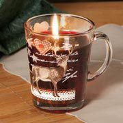 Glühweinbecher, Glasbecher mit Gelkerze & Hirschmotiv