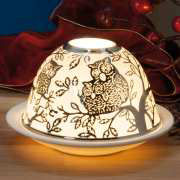 """Dome Light Brillant Porzellan-Windlicht """"Eulen"""""""