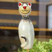 "Gartenstele ""Kitty"", Gartendeko aus Keramik"