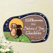 "Keramik Haustürschild ""Hundepaar im Mondschein"""