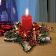 Tischgesteck Stern mit Kerze, weihnachtliche Dekoration