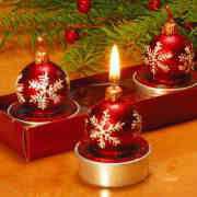"Teelichter ""Christbaumkugel"", leuchtend rot"