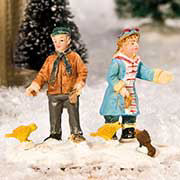 "Lichthäuser Miniaturfiguren Set ""Vögel füttern"""