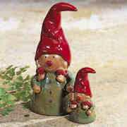 Keramikwichtel Dekofiguren, 2er-Set mit roter Mütze