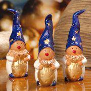 Keramikwichtel Dekofiguren, 3er-Set Glücksbringer