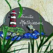 """Haustürschild """"Leuchtturm mit Fischen"""", Namensschild"""