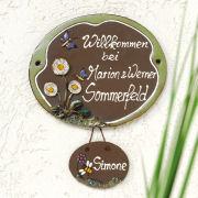 "Keramik Türschild ""Schmetterlinge"", wetterfestes Namensschild"