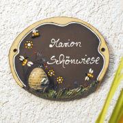 "Keramik Türschild ""Bienen mit Korb"", wetterfestes Namensschild"