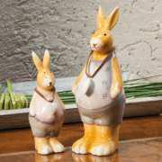 Keramikhasen Dekofiguren, 2er-Set Hasenfiguren