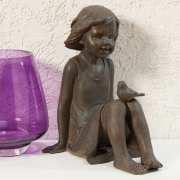 """Skulptur """"Mädchen mit Vogel"""", Dekofigur"""