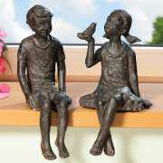 "Skulptur ""Kinder"", Dekofiguren Kantenhocker 2er-Set"