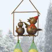 """Wetterfester Futterhänger """"Zwei Vögel"""" mit Kette zum Aufhängen"""