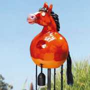 """Gartenstecker """"Pferd"""", braun glasierte Gartendeko"""