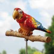 """Gartenstecker """"Papagei"""", bunt glasierte Gartendeko"""