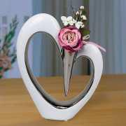 """Tischdeko Herzvase """"Romantik"""", Blumenvase aus Porzellan"""