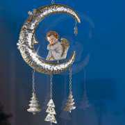 """Fensterschmuck """"Mond mit Engel"""", Hängedekoration aus Metall"""