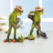 """Deko-Froschpaar """"Gärtner"""", 2er-Set Froschfiguren"""