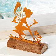 Elfen-Figur mit Vogel, Deko-Objekt aus Metall auf Holz