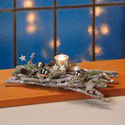 Tischgesteck mit Teelicht, weihnachtliche Tischdekoration