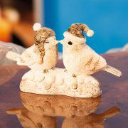 "Weihnachtsfiguren ""Wintervögel"", Dekofiguren aus Keramik"