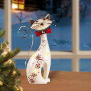 Windlichtkatze mit Beleuchtung, Tischdekoration aus Keramik