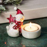 """Teelichthalter """"Schneemann"""", weihnachtliche Tischdeko"""