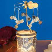 """Teelichtkarussell """"Sterne"""", Windlicht Glas-Karussell"""