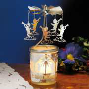 """Teelichtkarussell """"Engel"""", Windlicht Glas-Karussell"""