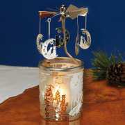 """Teelichtkarussell """"Mond & Katzen"""", Windlicht Glas-Karussell"""