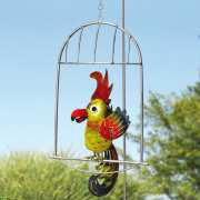 "Gartenstecker ""Papagei"", Gartendeko aus Eisenblech"