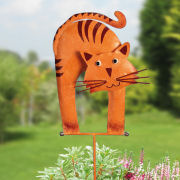 "Gartenstecker ""Katze"", orange, wetterfeste Gartendekoration"