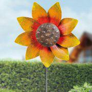 "Windrad ""Sonnenblume"", farbenfroher Gartendeko Beetstecker"