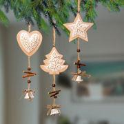 Weihnachtsbaumschmuck mit Glöckchen, Stern, Herz & Baum Set