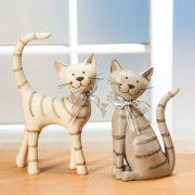"""Dekofiguren """"Katzenpaar"""", Tierskulpturen 2er-Set"""