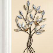 """Wandrelief """"Zweig mit Vögeln"""", Wanddekoration aus Metall"""