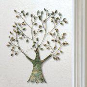 """Wandrelief """"Lebensbaum mit Blättern"""", Wanddeko aus Metall"""