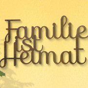"Wandrelief ""Familie ist Heimat"", wetterfeste Wanddekoration"