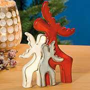 """Weihnachtsfiguren """"Elchfamilie"""", Weihnachtsdeko aus Keramik"""