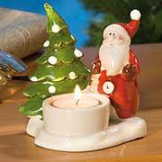 """Teelichthalter """"Weihnachtsmann"""", bunt glasierte Keramik"""