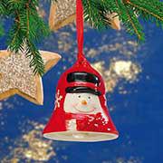 Weihnachtsbaumschmuck, Keramikglocke mit Schneemann Motiv