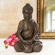 Buddha-Figur meditierend, sitzend, bronzefarben, 30 cm