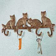 """Hakenleiste """"Katzen"""" aus wetterfestem Gusseisen"""