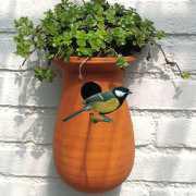 Vogelhaus aus Keramik, Nistkasten mit Gründach