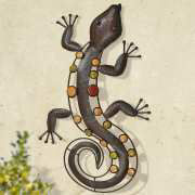 "Wanddekoration ""Salamander"", Gartendeko Tierfigur aus Metall"