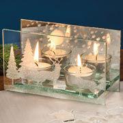 """Weihnachtsdeko Glas-Teelichthalter """"Hirsche im Wald"""""""