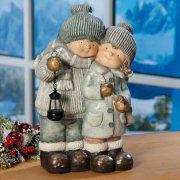 "Weihnachtsfigur ""Kinderpaar"", wetterfeste Winterdekoration"