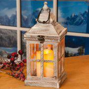 Holzlaterne mit LED-Kerze zur Weihnachtsbeleuchtung