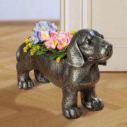 """Pflanzkübel """"Dackel"""", Deko-Hund Gartenfigur zum Bepflanzen"""